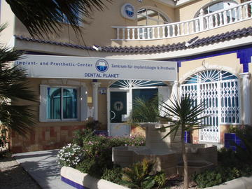 The outside entrance area  our dental practice Dental Planet in Rojales, Spain, close to Torrevieja and Alicante at the Costa Blanca